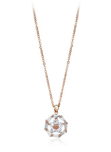 Tophills Diamond Co. 1,30 Ct Pırlanta Efekt Altın Daisy Trapes Roz Kolye  Renkli